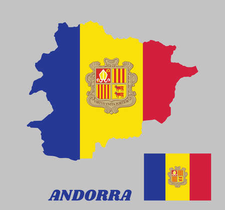 Map outline and flag of Andorra and the country name. A vertical tricolor of blue yellow and red with the National Coat of Arms on the center.