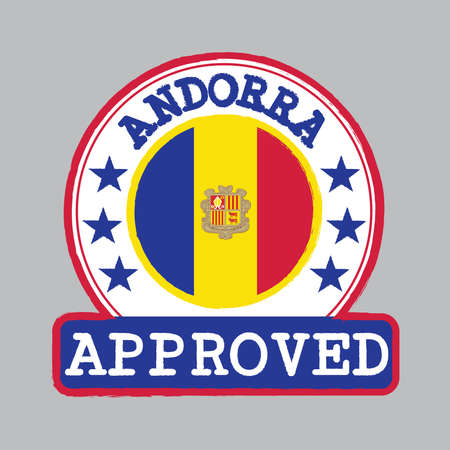 Vector Stamp of Approved logo with Andorra flag in the round shape on the center.