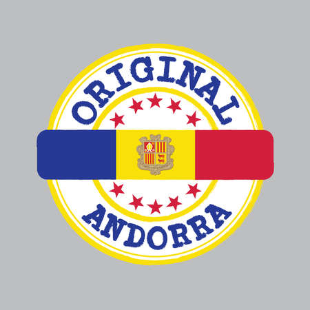 Vector Stamp of Original logo and Tying in the middle with Andorra flag. Çizim
