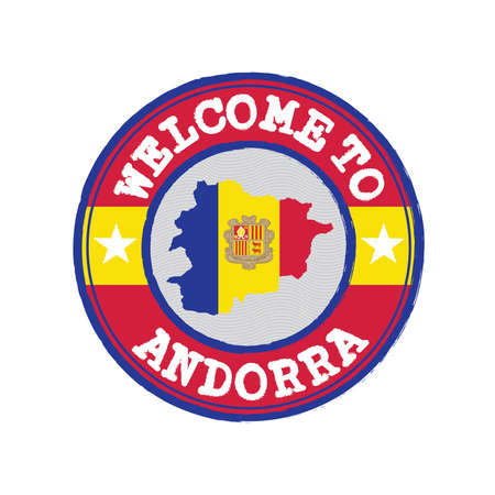 Vector stamp of welcome to Andorra with map outline of the country in center. Çizim