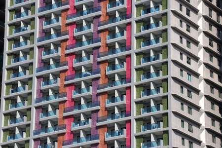 Colorful of building, background picture of exterior tower for living.
