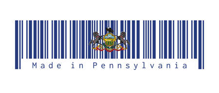 Barcode set the color of Pennsylvania flag. Coat of arms of Pennsylvania on blue field. text: Made in Pennsylvania. Concept of sale or business.