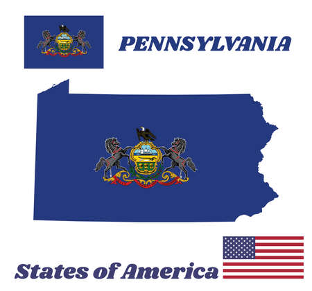 Map outline and flag of Pennsylvania and the state name. Coat of arms of Pennsylvania on blue field. The state of America with USA flag.