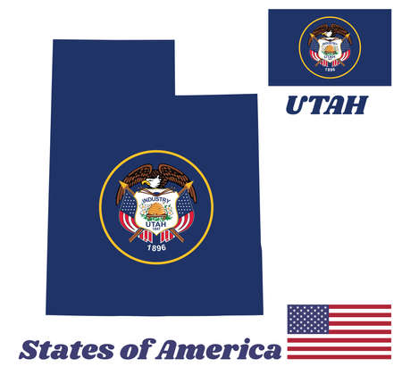 Map outline and flag of Utah and the state name.The seal of Utah encircled in a golden circle on a background of dark navy blue. The state of America with USA flag.