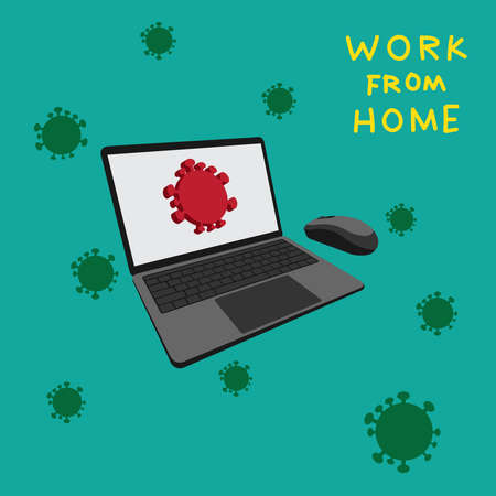 Computer notebook and symbol of virus corona on green background. Concept of work at home for prevents infection with Covid-19.