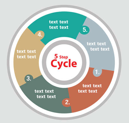 Infographic of 5 step of work or activities in the cycle of five color on grey background. Ilustração