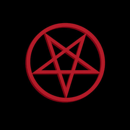 The inverted pentagram circumscribed by a circle (also known as a pentacle) is often used to represent Satanism. The upside-down star in the circle on red color that shows the connection to Satan on black background.