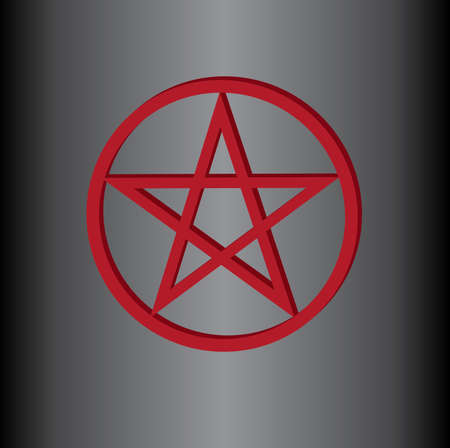 The inverted pentagram circumscribed by a circle (also known as a pentacle) is often used to represent Satanism. The star in the circle on red color that shows the connection to Satan on dark background.
