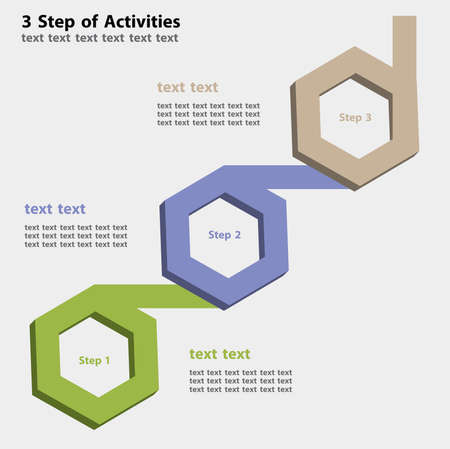 Infographic of 3 step of work or activities in the 3D hexagon in three color on grey background.