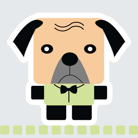 Vector cartoon of pug dog in square shape in brown color and green shirt, standing on green line. Ilustração