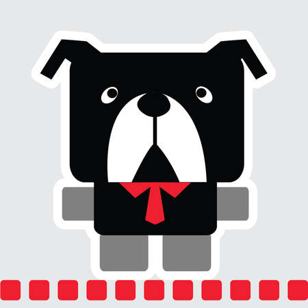 Vector cartoon of bulldog dog in square shape in black color with red necktie and standing on red line.