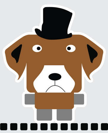 Vector cartoon of beagle dog in square shape in brown color and black tall hat on head standing on black line.