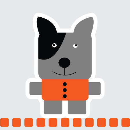 Vector cartoon of Blue Terrier dog in square shape in grey color with orange shirt and standing on orange line.