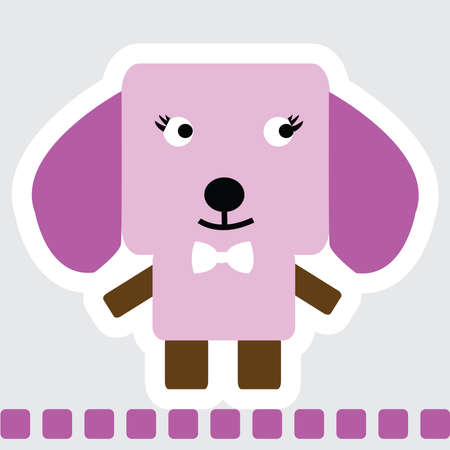Vector cartoon of Chihuahua dog in square shape in pink color, standing on pink line. Ilustração