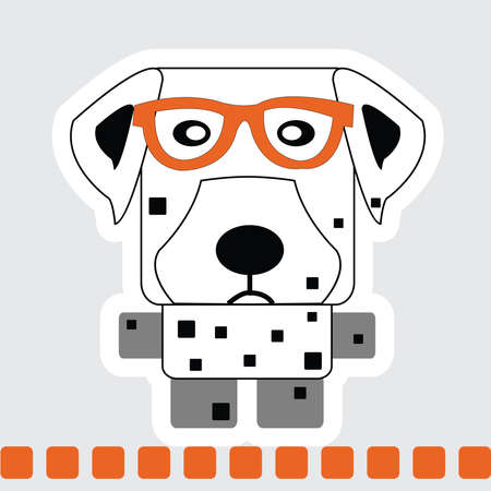 Vector cartoon of Dalmatian dog in square shape in with orange glasses and standing on orange line.