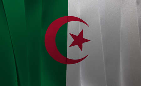 Colorful ribbon as Algeria national flag, it is of two equal vertical bars, green and white, charged in the center with a red star and crescent. Imagens