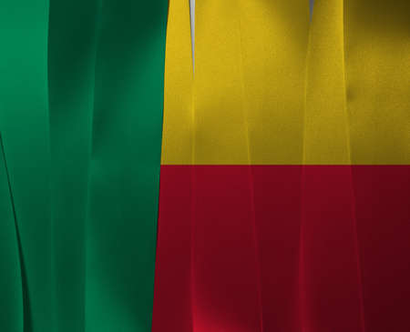 Colorful ribbon as Benin national flag. A horizontal bicolor of yellow and red with a green vertical band.