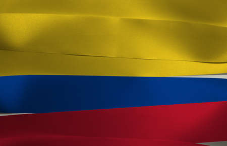 Colorful ribbon as Colombia national flag, a horizontal tricolor of yellow (double-width), blue and red. Imagens