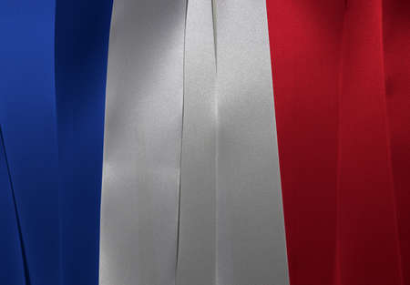Colorful ribbon as France national flag, it is a vertical tricolor of blue white and red. Imagens