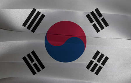 Colorful ribbon as South Korea national flag, the white color with Taegeuk and black trigrams.