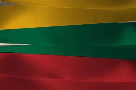 Colorful ribbon as Lithuania national flag, horizontal yellow green and red color. Imagens