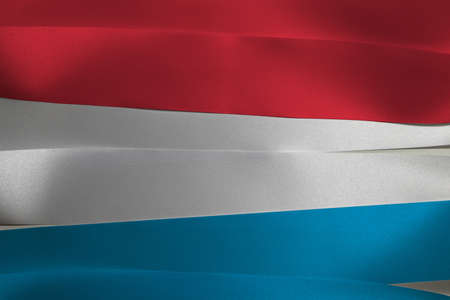Colorful ribbon as Luxembourg national flag, horizontal red white and light blue color. Imagens