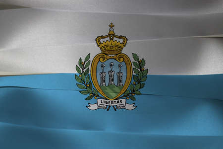 Colorful ribbon as San Marino national flag, It is formed by two equal horizontal bands of white (top) and light blue with the national coat of arms superimposed in the center.