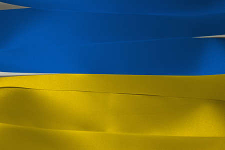 Colorful ribbon as Ukraine national flag,  it is a banner of two equally sized horizontal bands of blue and yellow.