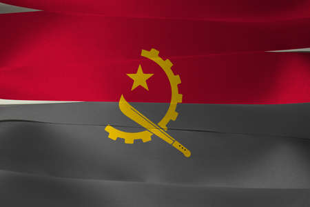 Colorful ribbon as Angola national flag, Two horizontal bands of red and black with the Machete and Gear Emblem in the center. Imagens