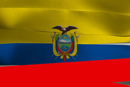 Colorful ribbon as Ecuador national flag, A horizontal tricolor of yellow (double width), blue and red with the National Coat of Arms superimposed at the center. Imagens