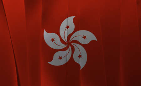 Colorful ribbon as Hong kong national flag, the red and white five petal Bauhinia blakeana flower. Imagens