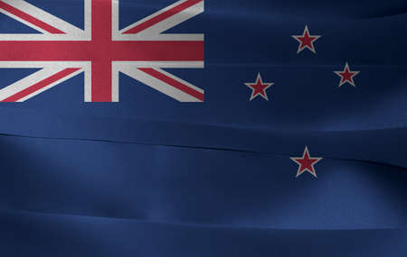 Colorful ribbon as New Zealand national flag, A Blue Ensign with the Southern Cross of four stars centred on the outer half of the flag and union jack..