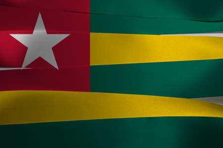 Colorful ribbon as Togo national flag, Five equal horizontal bands of green alternating with yellow; with a red canton bearing a white star.