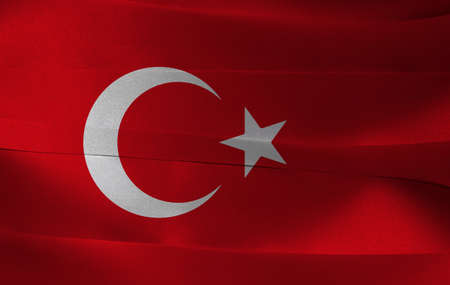 Colorful ribbon as Turkey national flag, a red field with a white star and crescent slightly left of center.