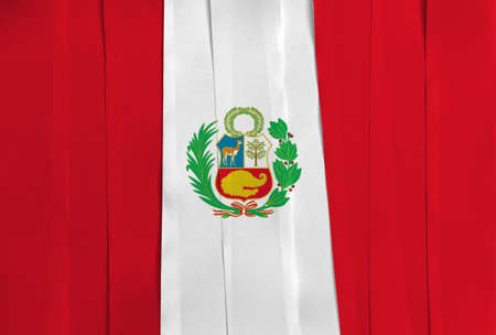 Colorful ribbon as Peru national flag, vertical triband of red white and red with cost of arms on center.