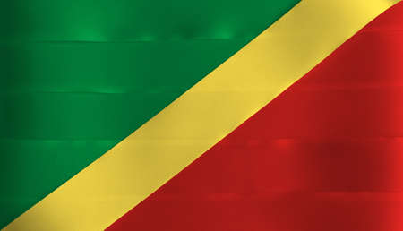 Colorful ribbon as Congo national flag, diagonal of green with yellow and red.