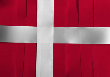 Colorful ribbon as Denmark national flag, red with a white Scandinavian cross that extends to the edges of the flag.