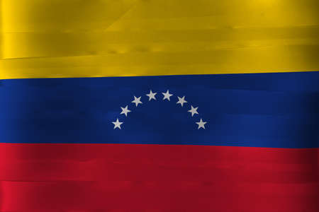 Colorful ribbon as Venezuela national flag, yellow blue and red with an arc of eight white stars centered on the blue band.