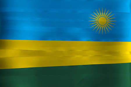 Colorful ribbon as Rwanda national flag, A horizontal tricolor of blue yellow and green with a yellow sun in the upper corner.