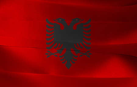 Colorful ribbon as Albania national flag, a red field with the black double-headed eagle in the center.