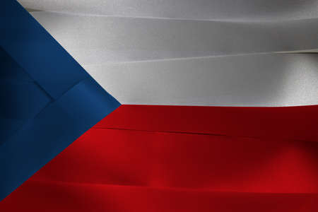 Colorful ribbon as Czech Republic national flag, two equal horizontal of white and red with a blue  triangle on the hoist side. Imagens
