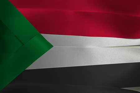 Colorful ribbon as Sudan national flag, red white and black with a green triangle based at the hoist.