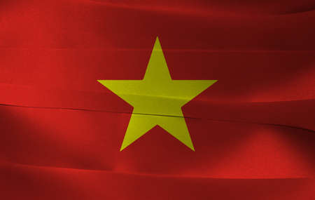 Colorful ribbon as Vietnam national flag, a yellow star on red flag.