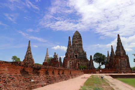 The ruins of Chaiwatthanaram Temple in Thailand. It was a royal temple complex during the Ayutthaya Period.The main architecture which is also the principal monuments of the temple complex is a group of five Pagodas. Фото со стока