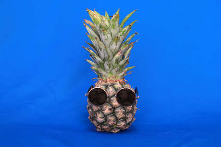 Pineapple wearing sunglasses on blue background. 版權商用圖片