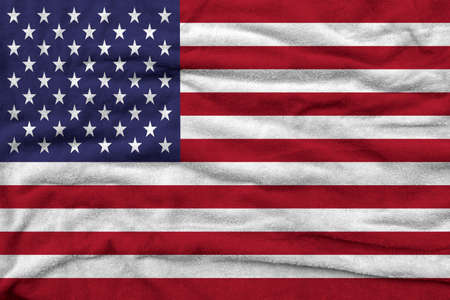 American flag pattern on towel fabric, National flag of America on fabric texture.
