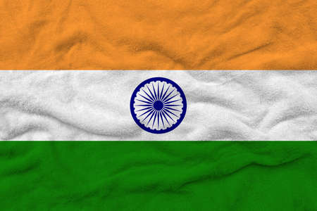 Indian flag pattern on towel fabric, National flag of India on fabric texture.