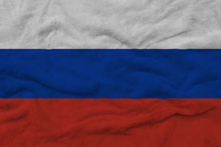 Russian flag pattern on towel fabric, National flag of Russia on fabric texture.