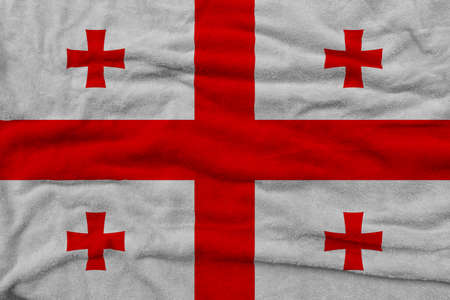 Georgian flag pattern on towel fabric, National flag of Georgia on fabric texture.