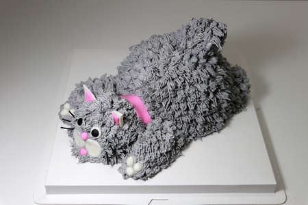 Cake made in the shape of a grey cat with a pink collar. It is doing a crouching pose on a white square paper tray.